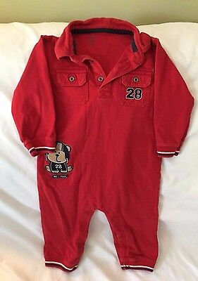 Infant Boys Carter's Red Long-Sleeved Collared Sleeper w/Pockets Size: 18 Months