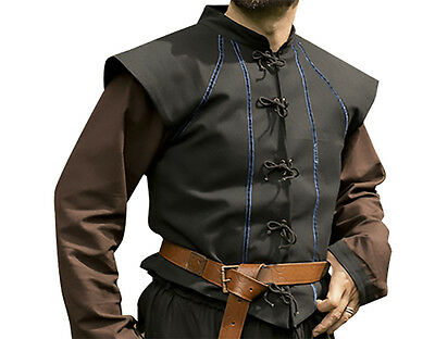 Tristan Pirate Vest, S, M, L, Kids, Shirt, LARP, Black, Blue, Green, Renaissance