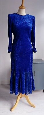 Gorgeous vintage 1980s crushed velvet dress - 1920s 30s style - drop waist, lace