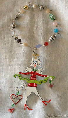 Crafted Metal & Beads MY CAT is no ANGEL White Fashion Cat CHRISTMAS Ornament