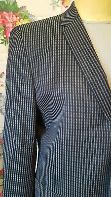 Vintage Mens Plaid 3 Button Sport Coat Blazer Narrow Lapel Hart Schaffner Marx