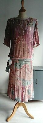 Gorgeous vintage beaded dress - 1920s 1930s style - drop waist - Gatsby Downton