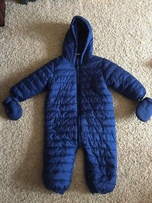 Boys Next Blue Snowsuit Age 12-18 Months With Mitts - Great Condition