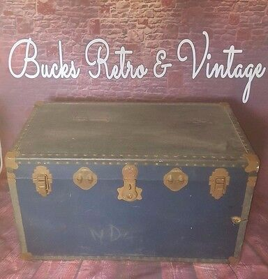 Vintage Travel Trunk Steamer Overpond Blanket Box Toys Coffee Table Chest