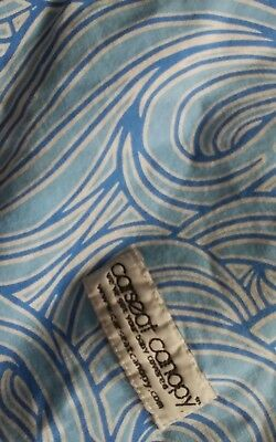 Swirl Design Blue & White Carseat Canopy Baby Car Seat Cover Very Good Condition