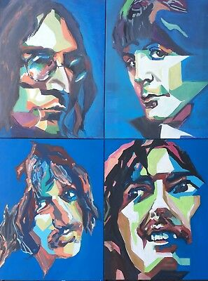 "The Beatles ""The Fab Four"" 18""x24"" Pop Art Style 4 Original Paintings by Licholi"