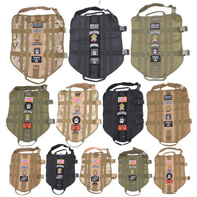 XS-XL Tactical Military K9 MOLLE Service Dog Harness Police German Shepherd Vest