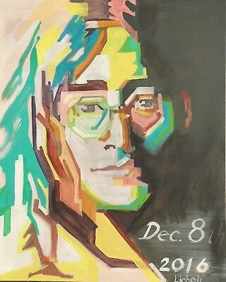 "Unique painting, POP ART, John Lennon Portrait, signed, Licholi 30"" x 24"""