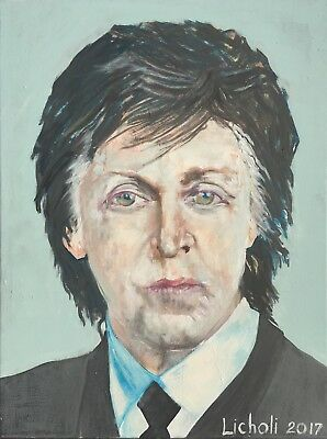 "Paul McCartney Beatles Pop Art 24"" X 18"" Original Painting by Licholi Recent img"