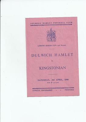 Dulwich Hamlet v Kingstonian London Senior Cup Football Programme 1947/48
