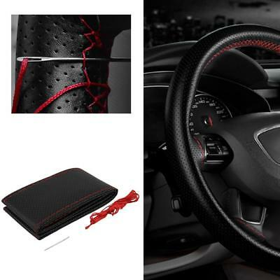 Black DIY Leather Car Truck Auto Steering Wheel Cover With Needles and Thread KJ