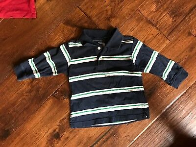 Childrens Place Navy/Green/White Striped Long Sleeve Shirt in Boys Size 3T
