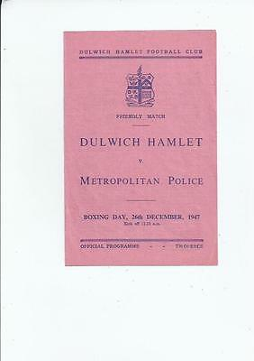 Dulwich Hamlet v Metropolitan Police Friendly Football Programme 1947/48