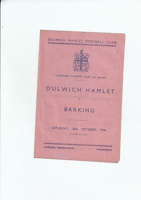 Dulwich Hamlet v Barking London Charity Cup Football Programme 1946/47