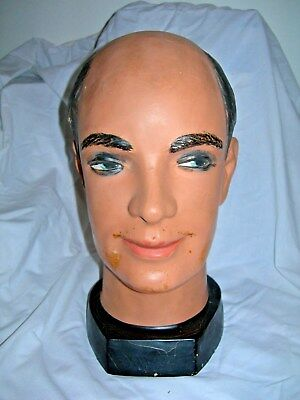 Vintage Resin Hand Painted Balding Male Man Mannequin Head for Wig Hat Toupee