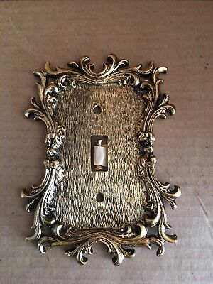 Vintage Ornate BRASS  Single Light Switch Plate Cover Floral Flowers