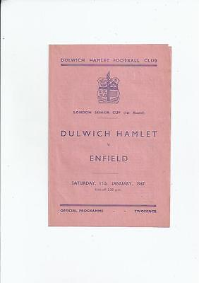 Dulwich Hamlet v Enfield London Senior Cup Football Programme 1946/47