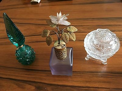 Mirror glass emerald bottles vase Antique vintage metal old box painted