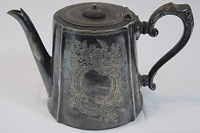 Vintage Teapot English 1880s Sheffield antique pewter tea pot silver plated