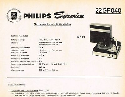 Philips Plattenspieler 22 GF040 Schaltplan Manual 1966 WK50 Original