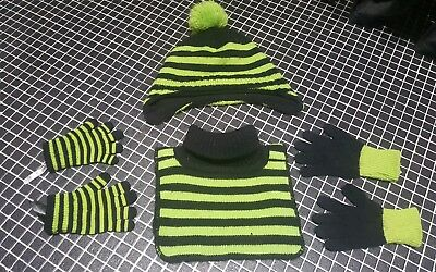 boys hat scarf gloves black & green from h&m age 4-8