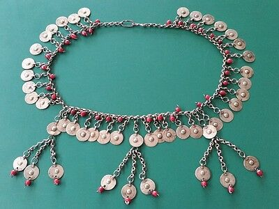 Ottoman Hand-knitted silver alloy chains medieval necklace with plates and beads