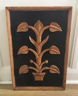 "Vintage 17.5"" Wooden Wall Plaque With Carved Tree Design"