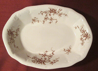 ANTIQUE Victorian SUTHERLAND COLONIAL POTTERY Brown Transferware SERVING BOWL