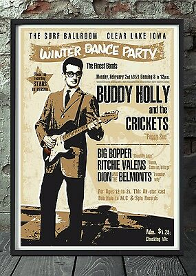 Buddy holly poster. Celebrating famous venues and gigs. Specially created.
