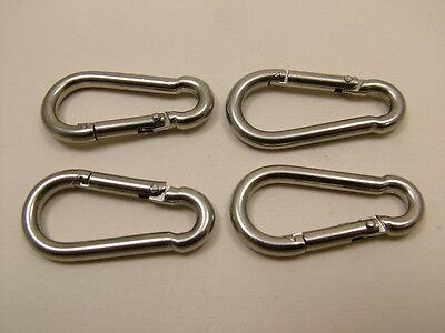 Stainless steel marine grade 316 A4 carbine hooks carabiners 4x40mm pack of 4