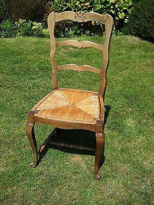 French Ladderback Chair Beautifully Carved with Rush Seat