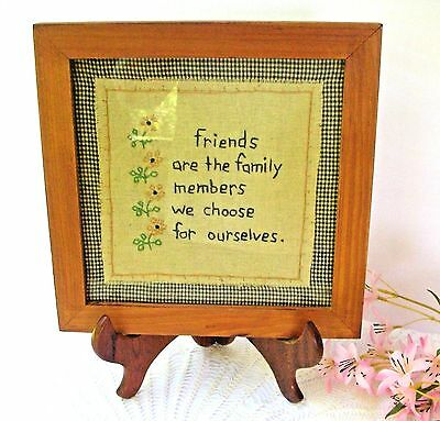Vintage Country Friends Are Family Embroidery Sampler Framed Gingham Background