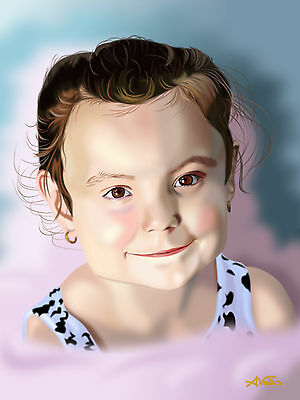 Child portraits from photos hand drawn digital art commissioned portrait fineart