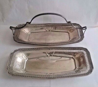 Vtg WEBSTER Sterling Silver Reticulated Basket & Tray Set of (2) 330.9 gr -5 Day