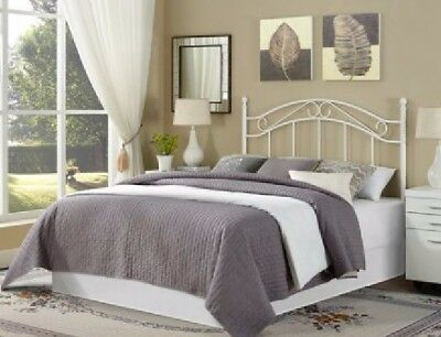 Full / Queen White Traditional Metal Bed Fancy Headboard Smooth Finish