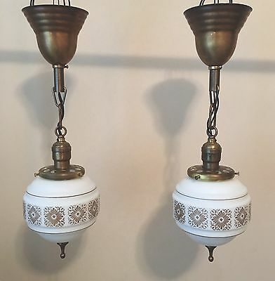 """19"""" Brass Pendant Lights Matched Lair White Gold Shades Finials Antique Vintage"""