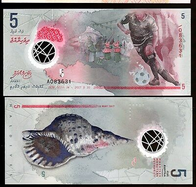 Money World From Maldives In S.asia, 1 Note Of 5 Rufiyaa, 2017, From Bundle