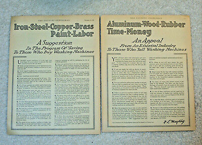 2 Vintage 1918 Pages~The Washing Machine Industry, MAYTAG CO. of Newton, Iowa