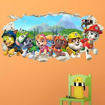 Paw Patrol Gang Wall Crack Kids Boy Girls Bedroom Decal Art Sticker Gift Xmas