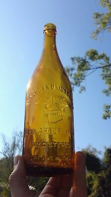 Michigan Union Brewing Beer Bottle, Honey Amber, No Drugs or Poison, Ann Arbor!!
