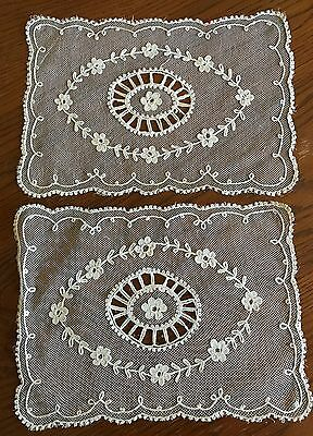 Antique Tambour Or Net Lace Set Of 3 Doilies Ecru 2- 9 X 12 In 1-11X11-1/2