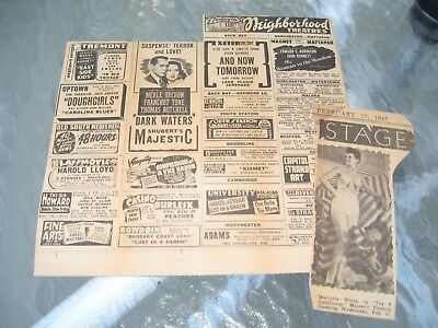 vtg 1945 BOSTON MA MOVIE ADS CLIPPING 3 Stooges MERLE OBERON Three Caballeros