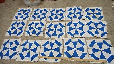 15 Vintage blue and white quilt blocks hand pieced 13.5""