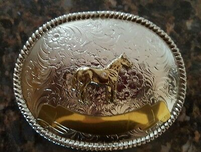 Horse Oval Western Decorative Silver & Gold Toned Belt Buckle