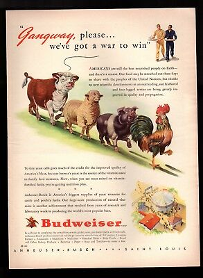 Vintage Print Ad 1943 Budweiser Anheuser-Busch Rooster Pig Sheep Cow March