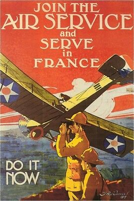 """Wwii  """"join The Air Service And Serve In France""""  Reproduction 8X10 Photo"""