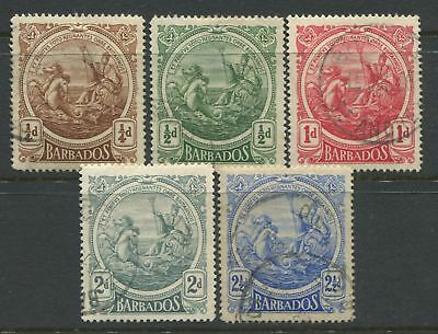 Barbados KGV 1916 1/2d to 2 1/2d large definitives used