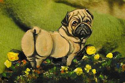 Original Painting~Pug~Dog~Carving~Hook~Key~Jewelry~Leash Hanger~Whimsical~Butt