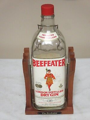 Vintage One Gallon Beefeater London Dry Gin Bottle With Tilt Stand Made England