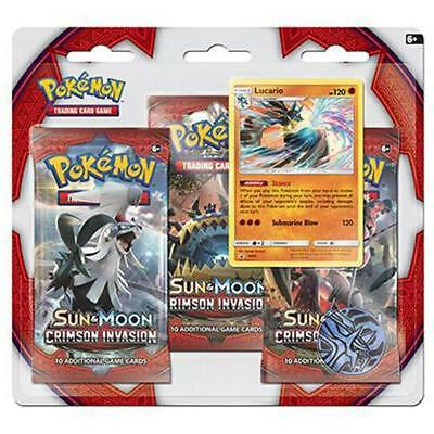 POKEMON TCG Sun & Moon Crimson Invasion 3 Pack Blister Lucario Promo